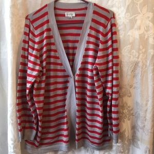 AVENUE red gray striped cardigan sweater-18/20